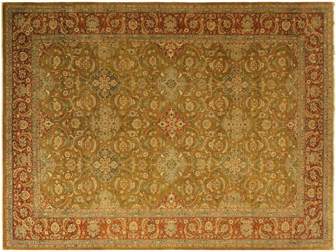 handmade Traditional Design Gold Rust Hand Knotted RECTANGLE 100% WOOL area rug 10x14