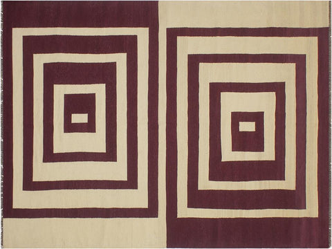 handmade Geometric Kilim Beige Purple Hand Woven RECTANGLE 100% WOOL area rug