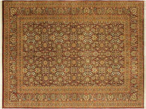 handmade Traditional New Asif Aubergine Beige Hand Knotted RECTANGLE 100% WOOL area rug 10x14