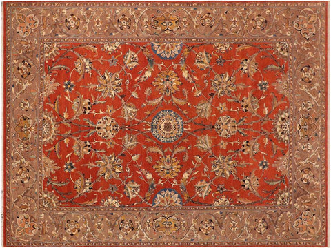 "A01291, 9'11"" X 13' 8"",Traditional,10' x 14',Rust,LT. BROWN,Hand-knotted                  ,Pakistan   ,100% Wool  ,Rectangle  ,652671133947"