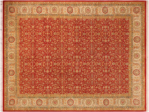 handmade Traditional  Red Beige Hand Knotted RECTANGLE 100% WOOL area rug 10x14