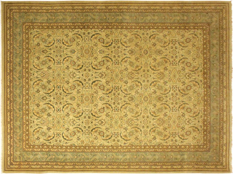 handmade Traditional Lahore Tan Green Hand Knotted RECTANGLE 100% WOOL area rug 10x14