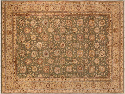 "A01309,10' 0"" X 14' 0"",Transitiona,10' x 14',Green,TAN,Hand-knotted                  ,Pakistan   ,100% Wool  ,Rectangle  ,652671134128"