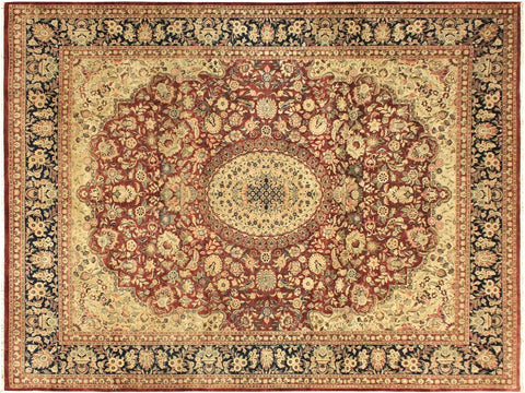 handmade Traditional Hussani Red Blue Hand Knotted RECTANGLE 100% WOOL area rug 9x11 Hand knotted indoor Pak Persian vegetable dyed area rug made for all rooms with high quality New Zealand wool in rich color pallet weaved by skilled artisans in traditional transitional design known for quality and affordable price. Oriental rug offered at cheap discount for any decor, with Persian weave(KPSI upto 300)
