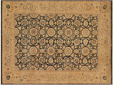 handmade Traditional Agra Tabriz Blue Tan Hand Knotted RECTANGLE 100% WOOL area rug 9x12 Hand knotted indoor Pak Persian vegetable dyed area rug made for all rooms with high quality New Zealand wool in rich color pallet weaved by skilled artisans in traditional transitional design known for quality and affordable price. Oriental rug offered at cheap discount for any decor, with Persian weave(KPSI upto 300)