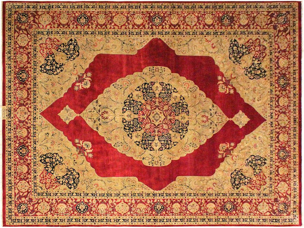 handmade Traditional Kirman Red Tan Hand Knotted RECTANGLE 100% WOOL area rug 9x12 Hand knotted indoor Pak Persian vegetable dyed area rug made for all rooms with high quality New Zealand wool in rich color pallet weaved by skilled artisans in traditional transitional design known for quality and affordable price. Oriental rug offered at cheap discount for any decor, with Persian weave(KPSI upto 300)