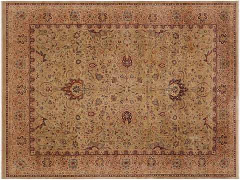 handmade Traditional Kashan Taupe Brown Hand Knotted RECTANGLE 100% WOOL area rug 9x12 Hand knotted indoor Pak Persian vegetable dyed area rug made for all rooms with high quality New Zealand wool in rich color pallet weaved by skilled artisans in traditional transitional design known for quality and affordable price. Oriental rug offered at cheap discount for any decor, with Persian weave(KPSI upto 300)