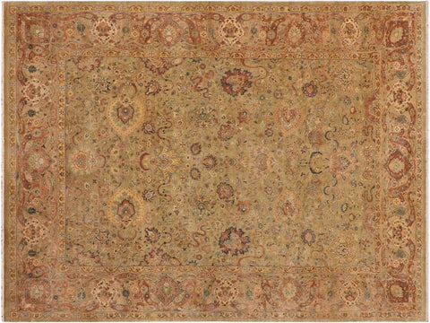 "A01387, 8'10"" X 12' 7"",Traditional                   ,9' x 12',Green,TAN,Hand-knotted                  ,Pakistan   ,100% Wool  ,Rectangle  ,652671134876"