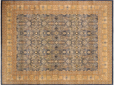 handmade Traditional Tabriz Blue Gold Hand Knotted RECTANGLE 100% WOOL area rug 9x12 Hand knotted indoor Pak Persian vegetable dyed area rug made for all rooms with high quality New Zealand wool in rich color pallet weaved by skilled artisans in traditional transitional design known for quality and affordable price. Oriental rug offered at cheap discount for any decor, with Persian weave(KPSI upto 300)