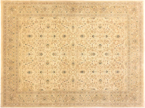 "A01402, 9' 1"" X 11'11"",Traditional                   ,9' x 12',Tan,LT. GREEN,Hand-knotted                  ,Pakistan   ,100% Wool  ,Rectangle  ,652671135026"