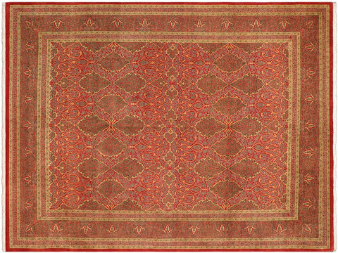 "A01407, 9' 1"" X 11' 6"",Traditional                   ,9' x 12',Rust,GREEN,Hand-knotted                  ,Pakistan   ,100% Wool  ,Rectangle  ,652671135071"