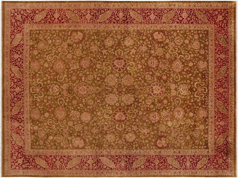 "A01417, 9' 2"" X 12' 1"",Traditional                   ,9' x 12',Green,RED,Hand-knotted                  ,Pakistan   ,100% Wool  ,Rectangle  ,652671135170"