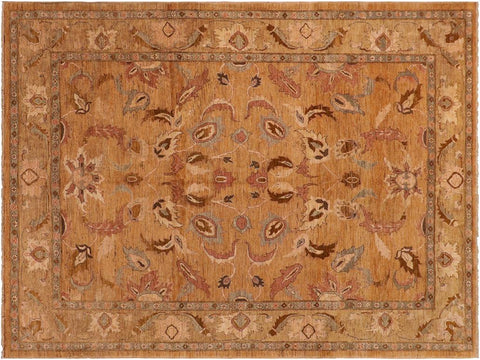 handmade Traditional Kafkaz Gold Tan Hand Knotted RECTANGLE 100% WOOL area rug 8 x 10