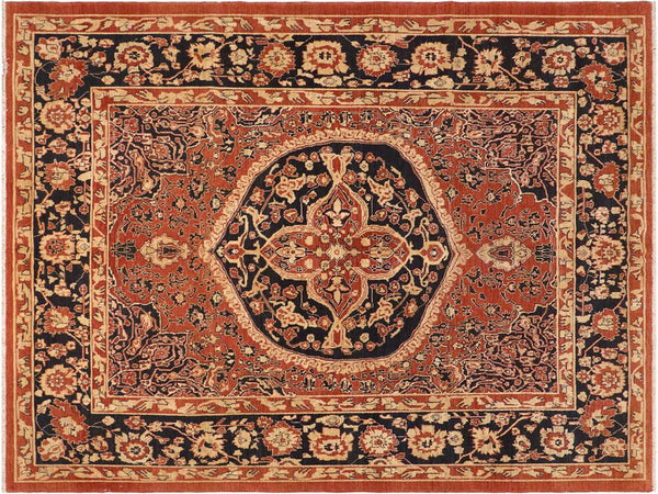 "A01427, 8' 3"" X  9' 4"",Geometric                     ,8' x 10',Rust,BLUE,Hand-knotted                  ,Pakistan   ,100% Wool  ,Rectangle  ,652671135279"