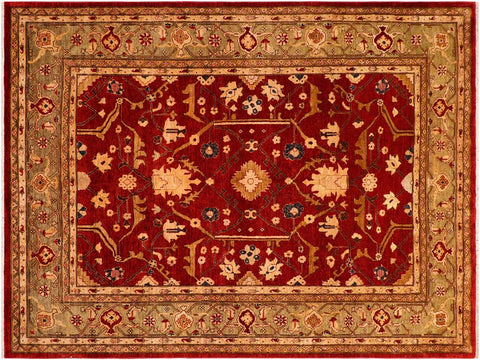 handmade Traditional Kafkaz Red Green Hand Knotted RECTANGLE 100% WOOL area rug 8 x 10