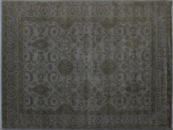 handmade Over Dyed Gray Gray Hand Knotted RECTANGLE 100% WOOL area rug 8x10