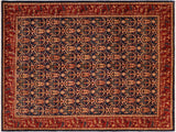 handmade Transitional Kafkaz Blue Red Hand Knotted RECTANGLE 100% WOOL area rug 8x10