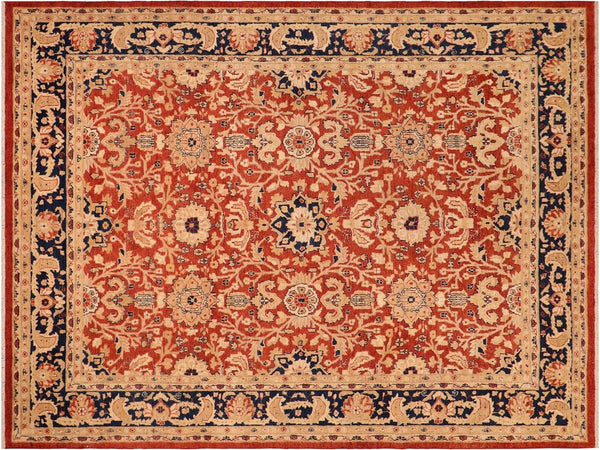 handmade Transitional Kafkaz Rust Blue Hand Knotted RECTANGLE 100% WOOL area rug 8x10