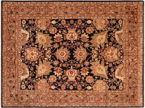 handmade Traditional Kafkaz Blue Brown Hand Knotted RECTANGLE 100% WOOL area rug 8 x 10