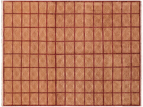handmade Modern Gabbeh Aubergine Lt. Brown Hand Knotted RECTANGLE 100% WOOL area rug 8 x 10