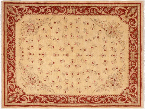handmade Traditional Kafkaz Beige Red Hand Knotted RECTANGLE 100% WOOL area rug 8 x 10