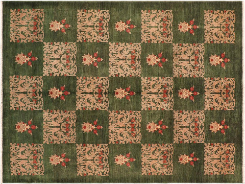 "A01478, 8' 1"" X  9'10"",Modern                        ,8' x 10',Green,GOLD,Hand-knotted                  ,Pakistan   ,100% Wool  ,Rectangle  ,652671135774"