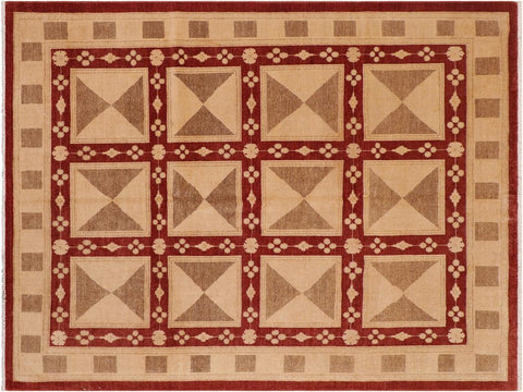 "A01484, 8' 2"" X  9' 9"",Modern                        ,8' x 10',Red,TAN,Hand-knotted                  ,Pakistan   ,100% Wool  ,Rectangle  ,652671135835"