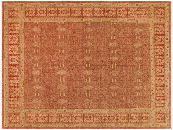 "A01493, 8' 1"" X  9' 7"",Transitional                  ,8' x 10',Brown,RED,Hand-knotted                  ,Pakistan   ,100% Wool  ,Rectangle  ,652671135927"