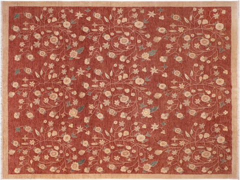 "A01495, 8' 2"" X  9'11"",Modern                        ,8' x 10',Rust,IVORY,Hand-knotted                  ,Pakistan   ,100% Wool  ,Rectangle  ,652671135941"