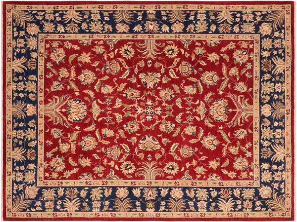 handmade Traditional Kafkaz Red Blue Hand Knotted RECTANGLE 100% WOOL area rug 8x10