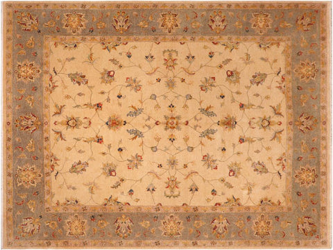 handmade Traditional Kafkaz Beige Gray Hand Knotted RECTANGLE 100% WOOL area rug 8 x 10