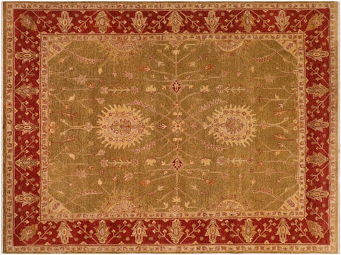 handmade Traditional Kafkaz Olive Green Rust Hand Knotted RECTANGLE 100% WOOL area rug 8 x 10