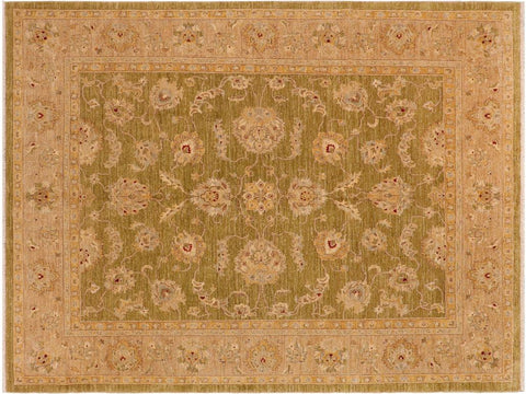 handmade Traditional Kafkaz Green Tan Hand Knotted RECTANGLE 100% WOOL area rug 8 x 10