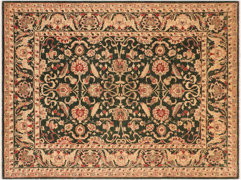 handmade Traditional Kafkaz Green Beige Hand Knotted RECTANGLE 100% WOOL area rug 8 x 10