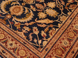 "A01524  8' 2"" X  9'11"" Traditional 8x10 BLUE AUBERGINE Hand Knotted                   Pakistan    100% Wool   Rectangle"
