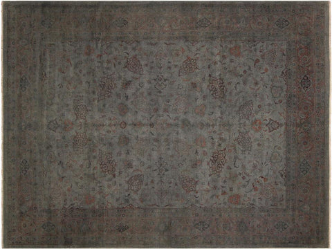 handmade Over Dyed Gray Charcoal Hand Knotted RECTANGLE 100% WOOL area rug 9x12