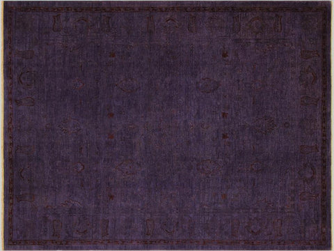 handmade Over Dyed Purple Red Hand Knotted RECTANGLE 100% WOOL area rug 9x12