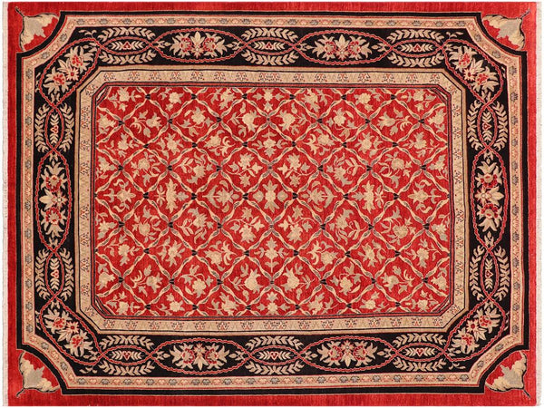 "A01542, 8'10"" X 11' 9"",Transitional                  ,9' x 12',Red,BLACK,Hand-knotted                  ,Pakistan   ,100% Wool  ,Rectangle  ,652671136412"