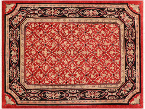 handmade Transitional Kafkaz Red Black Hand Knotted RECTANGLE 100% WOOL area rug 9 x 12