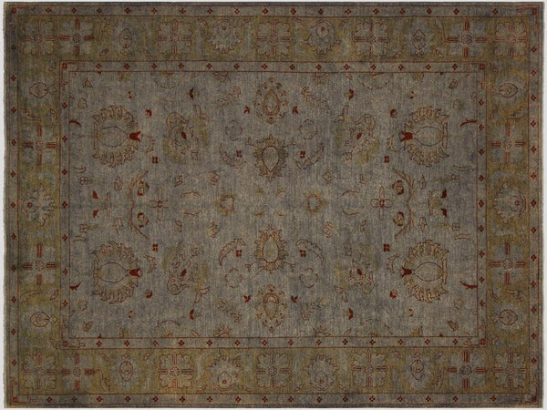 handmade Over Dyed Gray Green Hand Knotted RECTANGLE 100% WOOL area rug 9x12