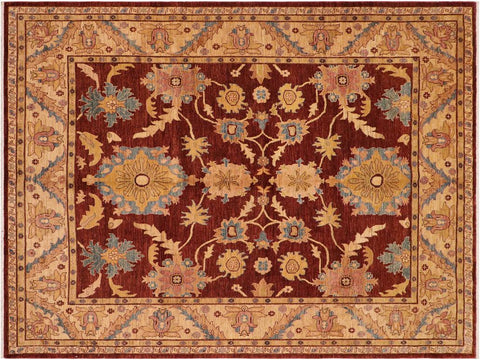"A01557  7'11"" X 10' 0"" Traditional 8x10 DARK RED TAN Hand Knotted                   Pakistan    100% Wool   Rectangle"