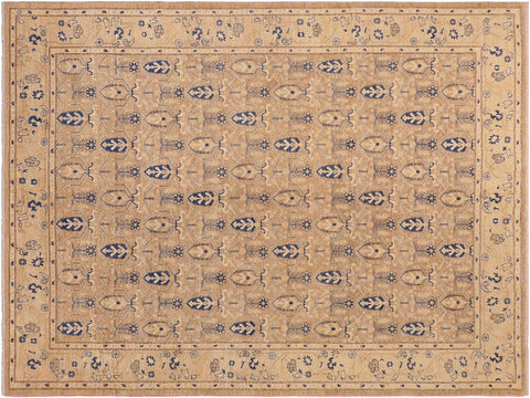 "A01559, 8' 4"" X 10' 4"",Transitional                  ,8' x 10',Tan,DRK. BLUE,Hand-knotted                  ,Pakistan   ,100% Wool  ,Rectangle  ,652671136566"