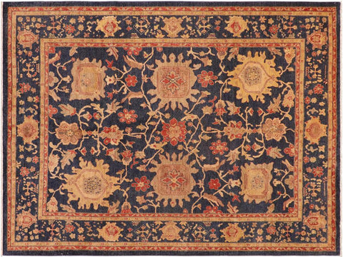 handmade Traditional Kafkaz Blue Rust Hand Knotted RECTANGLE 100% WOOL area rug 8 x 10