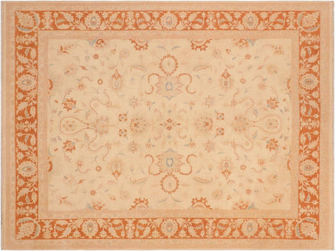 "A01592  8' 1"" X  9'11"" Traditional 8x10 IVORY RUST Hand Knotted                   Pakistan    100% Wool   Rectangle"
