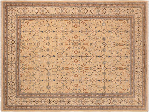 handmade Transitional Kafkaz Tan Beige Hand Knotted RECTANGLE 100% WOOL area rug 8 x 10