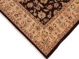 "A01616  8' 2"" X  9' 9"" Traditional 8x10 DARK BROWN TAN Hand Knotted                   Pakistan    100% Wool   Rectangle"
