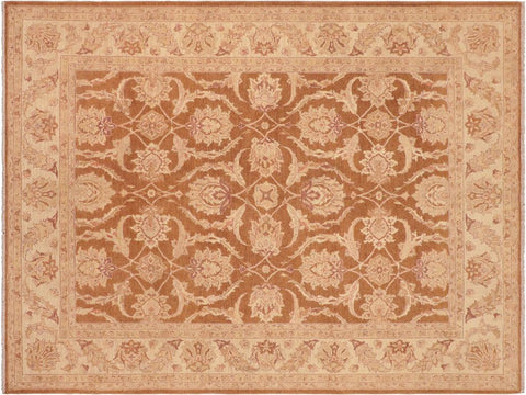 handmade Transitional Kafkaz Brown Beige Hand Knotted RECTANGLE 100% WOOL area rug 8 x 10