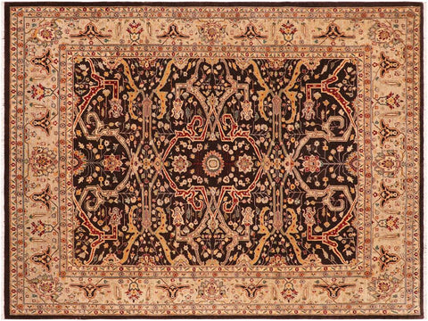 "A01622  8' 2"" X  9'11"" Traditional 8x10 BROWN TAN Hand Knotted                   Pakistan    100% Wool   Rectangle"