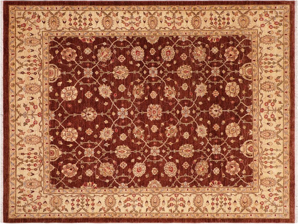 handmade Transitional Kafkaz Brown Ivory Hand Knotted RECTANGLE 100% WOOL area rug 8x10