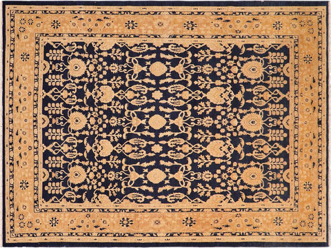 "A01646, 8' 2"" X 10' 2"",Traditional,8' x 10',Blue,DARK TAN,Hand-knotted                  ,Pakistan   ,100% Wool  ,Rectangle  ,652671137419"
